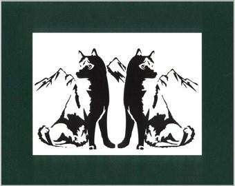 Huskies Wall Art Paper Cut Art Silhouette 8X10 Green Cardstock Mat Unframed