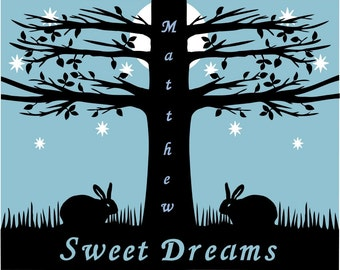 Bunnies Sweet Dreams Personalized Wall Art Decor Baby Child Gift Tree Moon Stars Paper Cut Silhouette 8X10