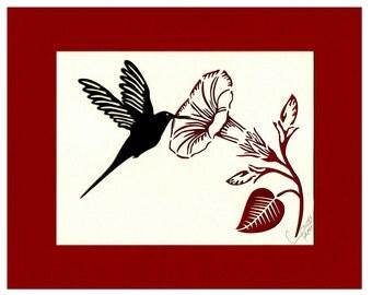 Hummingbird Art Hummingbird Wall Art Hummingbird Wall Decor Morning Glory Paper Cutting  8X10 Unframed