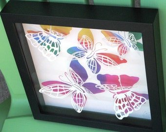 3D Butterflies Multi-colored 8x8 Paper Cut in Shadow Box