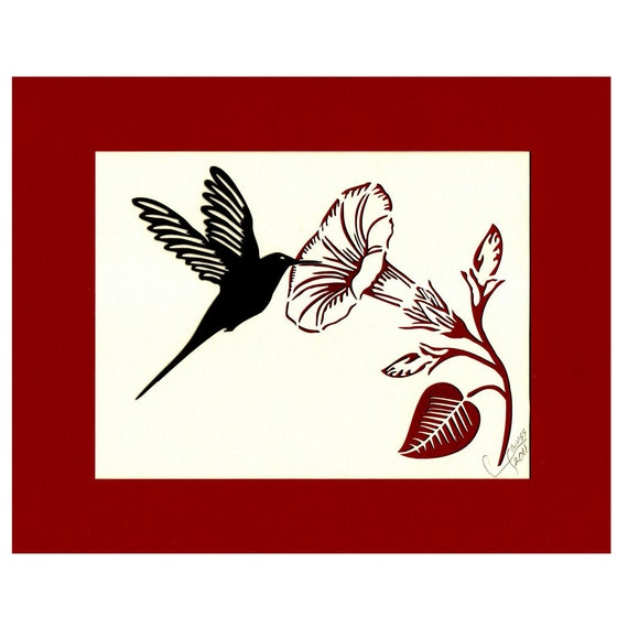 Hummingbird Art Hummingbird Wall Art Hummingbird Wall Decor Morning Glory Paper Cutting  8X10 Unframed