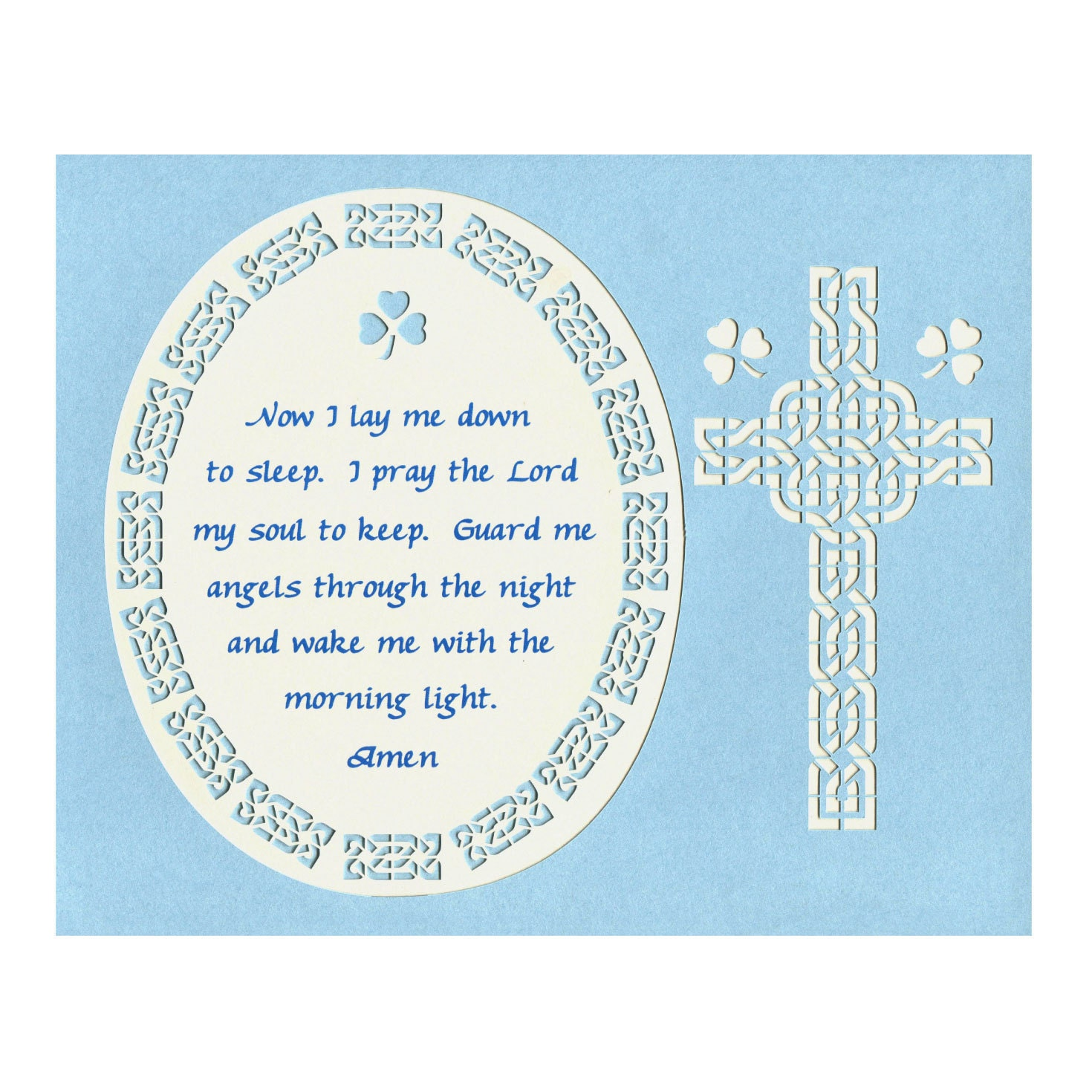 Now i lay me down to sleep wall decal - Now I Lay Me Down Prayer Child Prayer Wall Art Paper Cut Design Celtic Knot Celtic Zoom