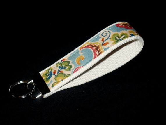 French Paisley Floral Wrist Key Fob  5 inches