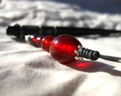 Red Drop - black bone hair stick
