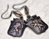 Heraldry Earrings, with Lions, Crowns, Brass and Vintage Chain