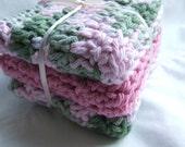 3 Crocheted Organic Washcloths