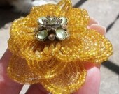 Handmade French Beaded Flower (BROOCH) Yellow Rose (With Vintage Czech Seed Beads)