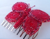 Hair Comb French Beaded Red Butterfly