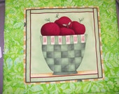 APPLES, placemats, mini wall hanging