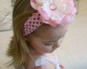 RESERVED FOR MOLLY Pale Pink Peony Flower Girl Headband