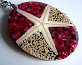 Star Fish Necklace - Red Coral - Sea shell Mosaic - pendant - red white beige - on chain with self closing clasp - beach wedding