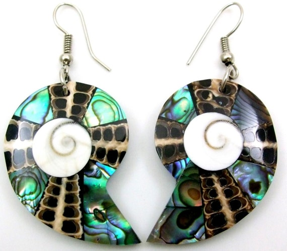 Abalone SHell Earrings- Beach Wedding collection - Nautilus - Sea shell mother of pearl cone shell shiva eye - tribal - spiral