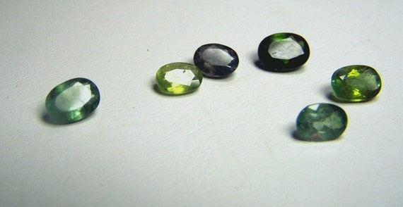 Green Tourmaline Gemstones lot of 6 - Natural green Tourmaline - from Brazil - six stones - coyoterainbow - faceted oval gemstones