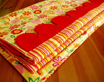 Flowers and Stripes Table Runner