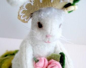 Wool Felt Rabbit with Flower Basket