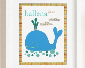 Ballena Whale Print 8 x 10.5 inches