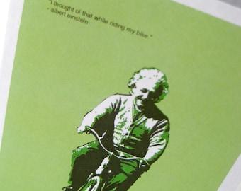 Biking Albert Einstein Blank Card