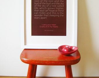 i carry your heart - 8 x 10 print - custom color