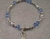 Prostate Cancer Awareness Bracelet - Swarovski Austrian Crystals and Sterling Silver Beads