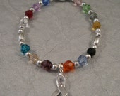 Multicolored Cancer Awareness  Bracelet - Swarovski Austrian Crystals and Sterling Silver Beads