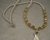 Childhood Cancer Awareness Necklace - Swarovski Austrian Crystals and Sterling Silver Beads