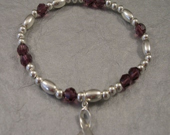 Pancreatic Cancer Awareness Bracelet - Swarovski Austrian Crystals and Sterling Silver Beads