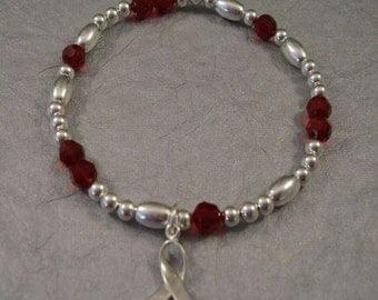Multiple Myeloma Awareness Bracelet - Swarovski Austrian Crystals and Sterling Silver Beads
