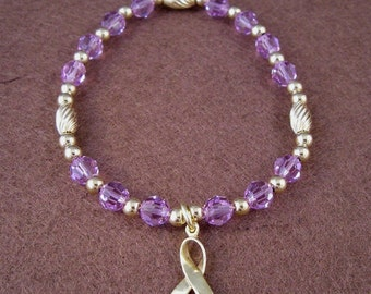 All Other Cancers Awareness Bracelet - Swarovski Austrian Crytals and 14kt Gold Beads
