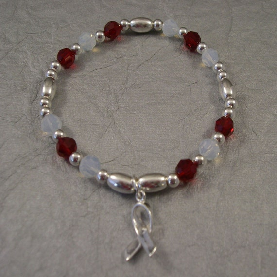 Head, Neck and Throat Cancer Awareness Bracelet - Swarovski Austrian Crystals and Sterling Silver Beads