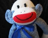 Handmade Sock Monkey, Denim Blue Jean,  Redheel, Royal Blue, Personalized, Limited Edition, Doll Toy Plush Stuffed Animal Play Child