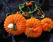 PUMPKIN, puMpkIN Necklace. Beautiful Hand Crochet Mini Pumpkins.  Hand Tied Bead Embellishment.  Glass Pumpkins.