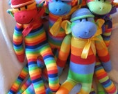 Striped Sock Monkey. Yummy Electric Tangerine, Lime Mango and Cranberry.  Limited.  Personalized.