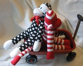 Personalized Sock Monkey Black White Polka Dots. Limited Edition. - auntyanndesigns