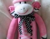 Bubblegum Pink Tennis Shoe Sock Monkey.  Super Soft. OOAK.