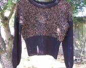 Beautiful Handknit Autumn Sweater.  Orange Eyelash Accents.
