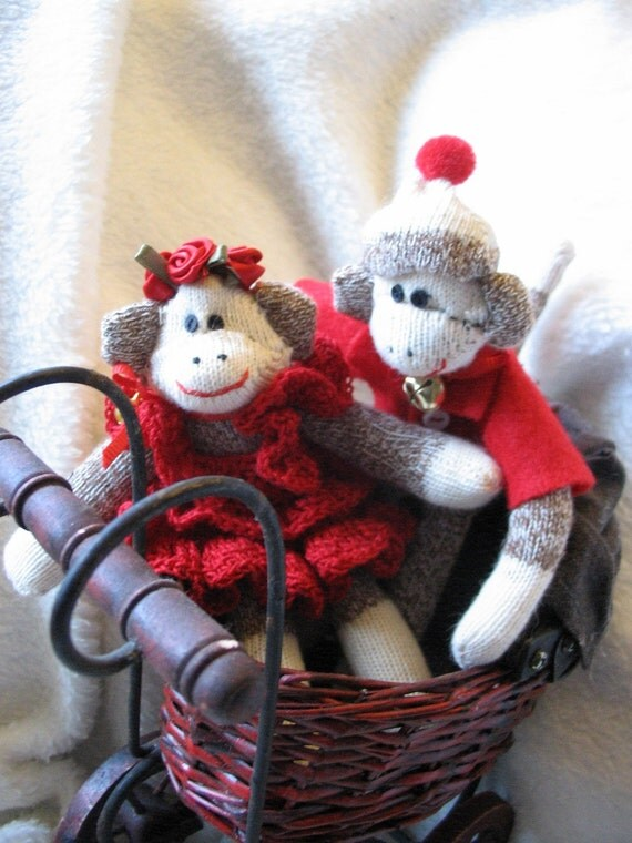Mini Sock Monkey Couple. Sweetheart Couple. 5 Inch Dressed Sock Monkeys.  Collectible by auntyanndesigns.