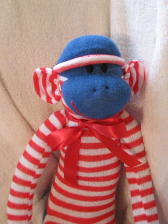 Sock Monkey. Yikes Stripes Red and White Sock Monkey - Personalized.  OOAK.  Free Name Embroidery.