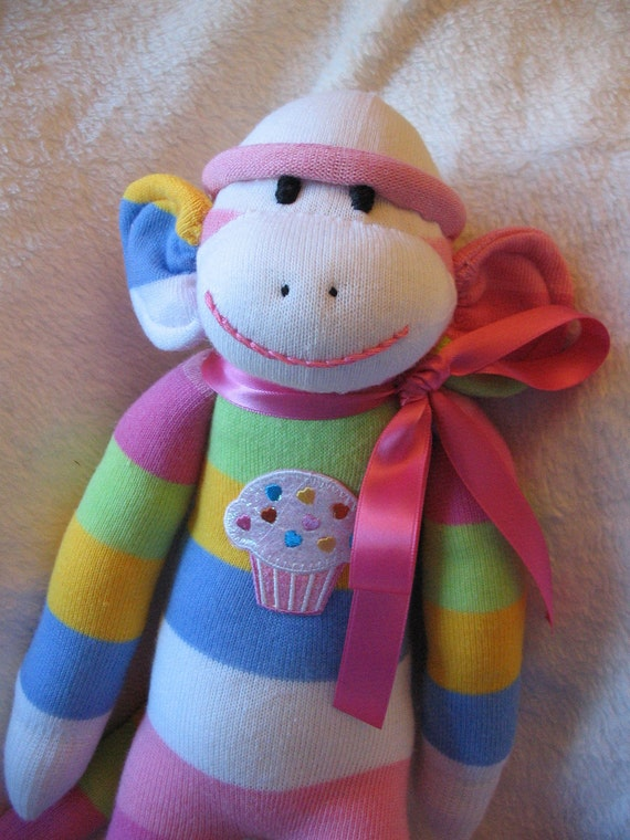 Handmade Sock Monkey, Soft Pastel Striped Socks with Cupcake Patch, Personalized, Limited Edition, Doll Toy Plush Stuffed Animal Play Child
