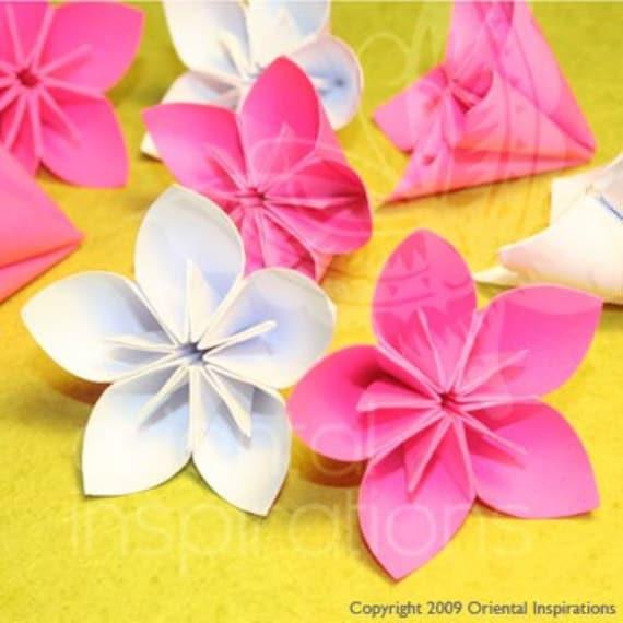 Wedding Origami Cherry Blossom Sakura Flowers in White and - photo#3