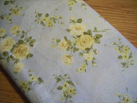 Fabric -Soft Blue and Yellow  Floral Design - Mary Rose Collection by Quilt Gate -  1.75 yard Cut