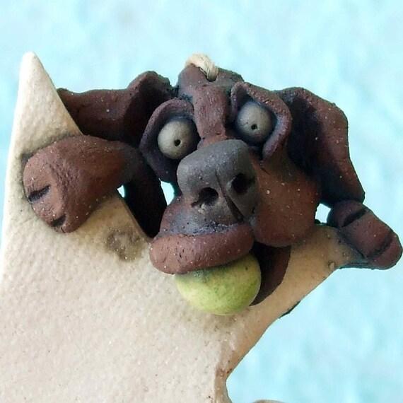 Chocolate Labrador Retriever Dog Hanging on a Star Ceramic Sculpture or Ornament