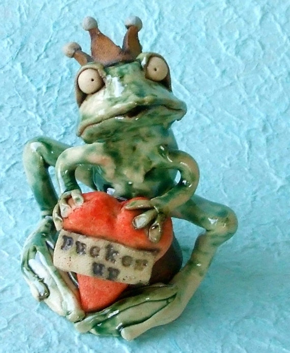 """Frog Prince (or Princess) with Heart Ceramic Sculpture: """"Pucker Up"""""""