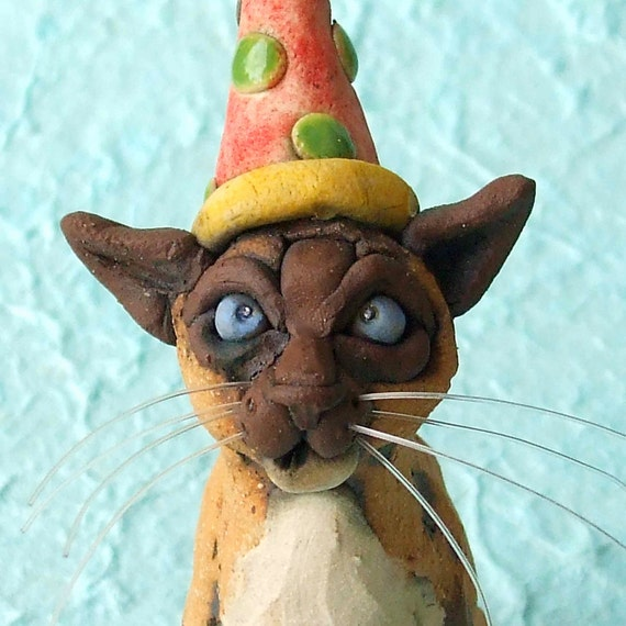 Siamese Cat with Party Hat Ceramic Sculpture