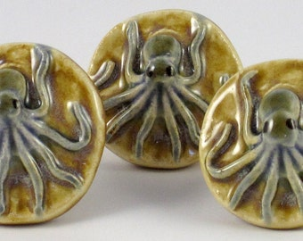 Nautical Octopus Drawer Pull and Cabinet Knob - Caramel