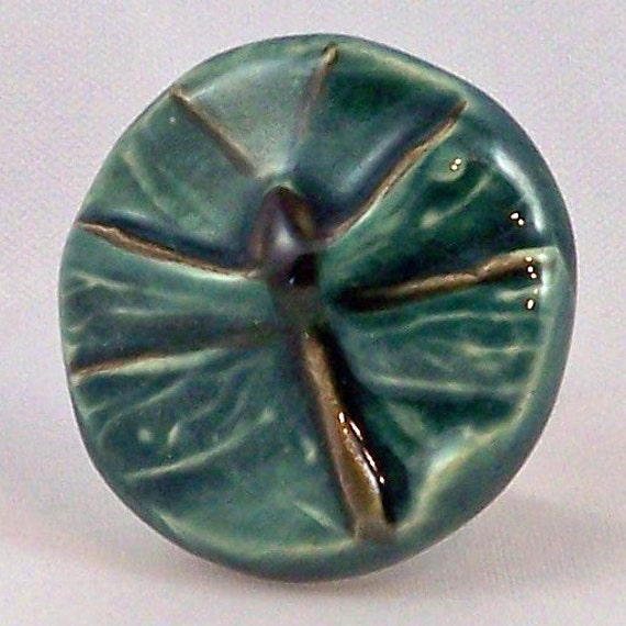Dragonfly Ceramic Drawer Pull and Cabinet Knob - Peacock Green