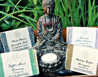 4 Asian Inspired Organic, Vegan Soaps Made with Certified Organic Vegetable Oils and Wrapped in Flower Seeded Paper