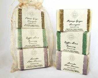 Bestseller Organic Soap Gift Set - Papaya Ginger Lemongrass, Thai Lime Rosemary, and Lavender Lotus Blossom Soaps - Palm Oil Free