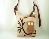 Upcycled, Repurposed Eco Friendly Linen Messenger Bag in Natural Color, Brown and Natural White with Owl Applique and Adjustable Leather Strap