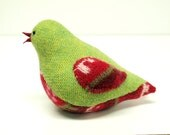 Upcycled Felted Wool and Angora Bird in  Green, Red and Natural White