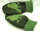 Bird Mittens  Felted Wool in Green with Bird Applique and Suede Palm Eco Friendly Upcycled  Size M